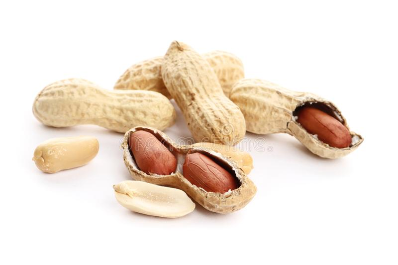 Getrocknete Erdnüsse auf dem weißen Hintergrund Beschneidungspfad eingeschlossen Nahaufnahme lizenzfreie stockfotografie