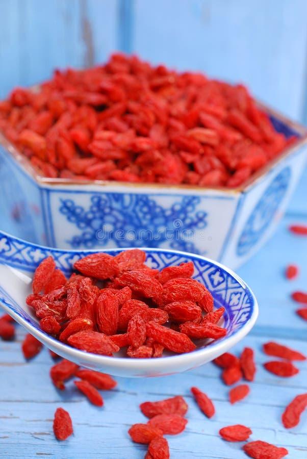 Getrocknete goji Beeren auf chinesischem Löffel lizenzfreies stockbild