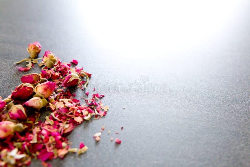 Getrocknete rote Rosen-Knospenblume auf grauem/grauem Schieferhintergrund stockfotos