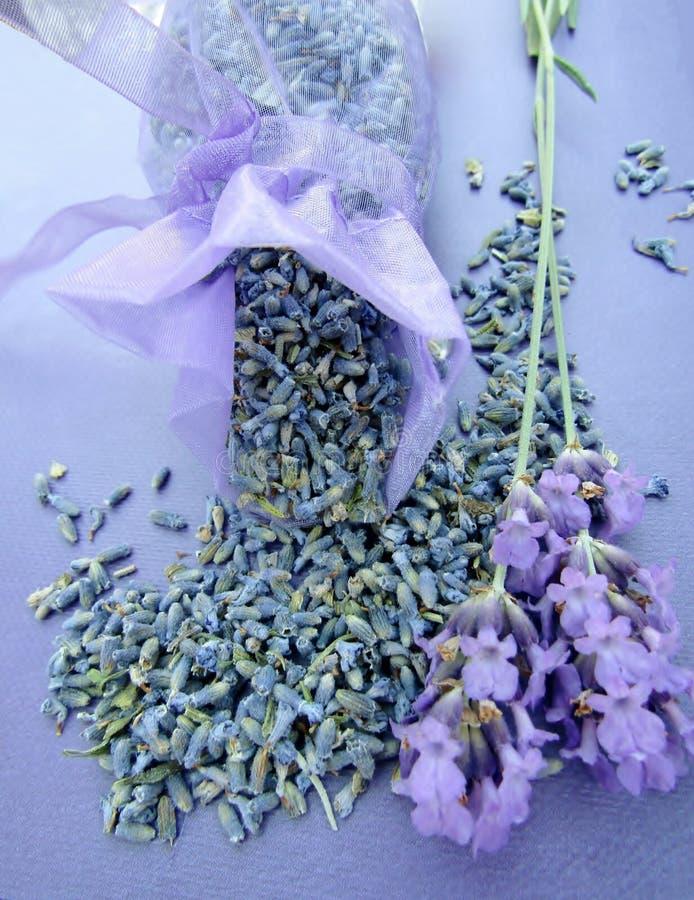 Getrockneter Lavendel in einer Tasche und in frischen Blumen lizenzfreie stockfotos
