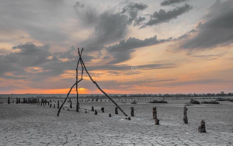 Getrocknetes-oben Salt Lake Kuyalnik lizenzfreies stockfoto