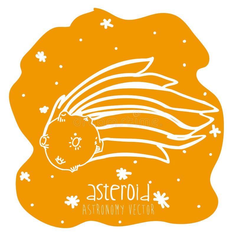 Getrokken asteroïde stock illustratie