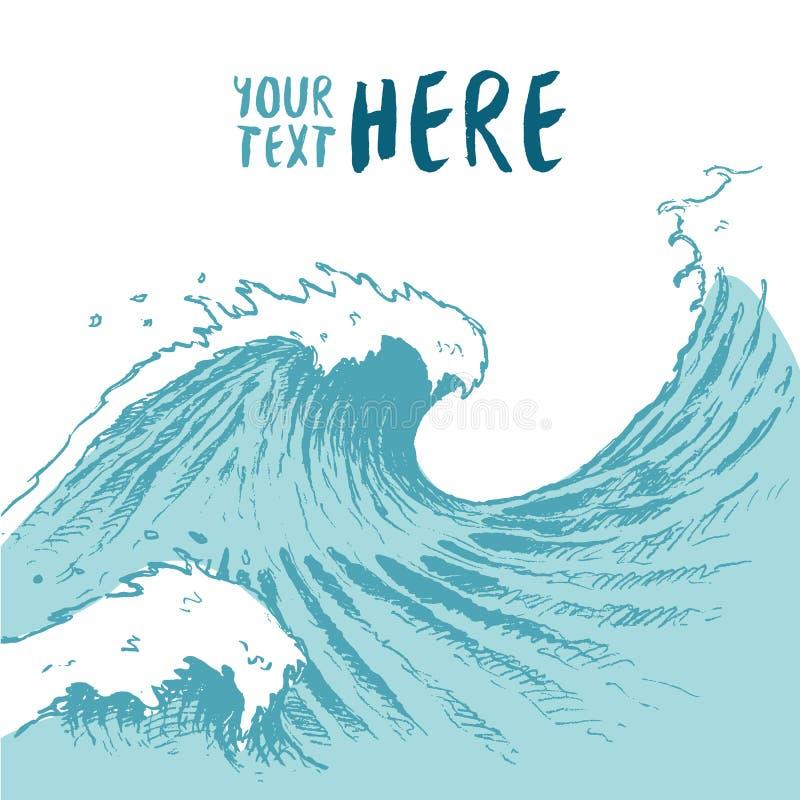 Getrokken blauwe golven achtergrond de zomer overzeese plaatstekst stock illustratie