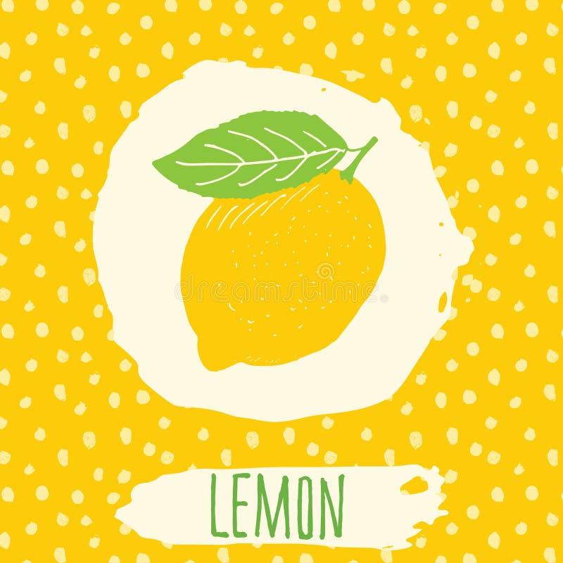 Getrokken citroen de hand schetste fruit met blad op gele achtergrond met puntenpatroon Krabbel vectorcitroen voor embleem, etike stock illustratie