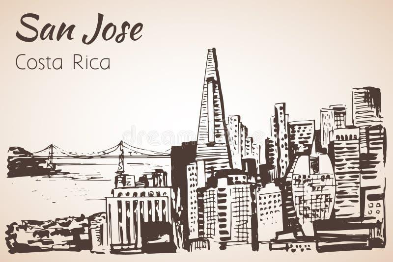 Getrokken cityscape van San Jose hand Costa Rica schets royalty-vrije illustratie