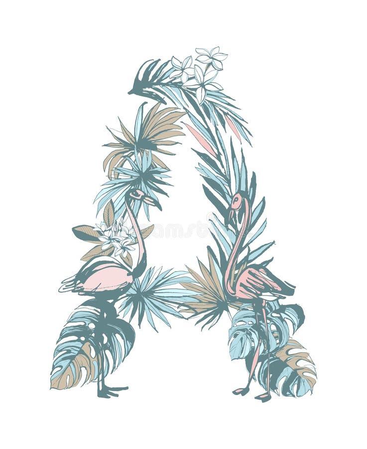 Getrokken de brievena palmbladen van het de zomerpatroon hand, bloemen, vogels royalty-vrije illustratie