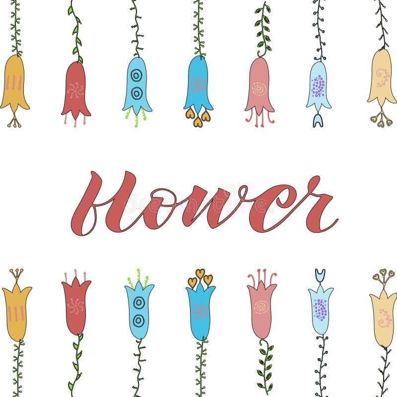 Getrokken de hand bloeit krabbel Gele, blauwe, rode bloemen groene Bladeren Bloem het van letters voorzien royalty-vrije illustratie