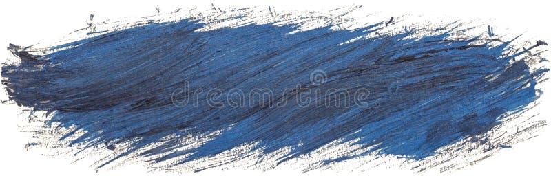 Getrokken de hand isoleerde penseel acryl lange streep met diagonale kwaststreken, vuile blauwe kleur vector illustratie