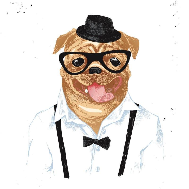 Getrokken de hand kleedde omhoog pug in hipsterstijl royalty-vrije illustratie