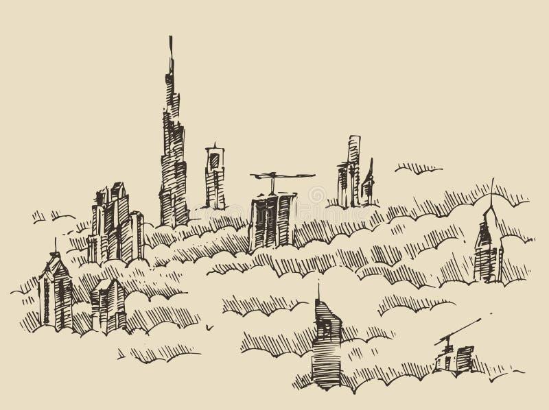 Getrokken de Hand van de de Stadshorizon van Doubai, Gegraveerde Vector vector illustratie