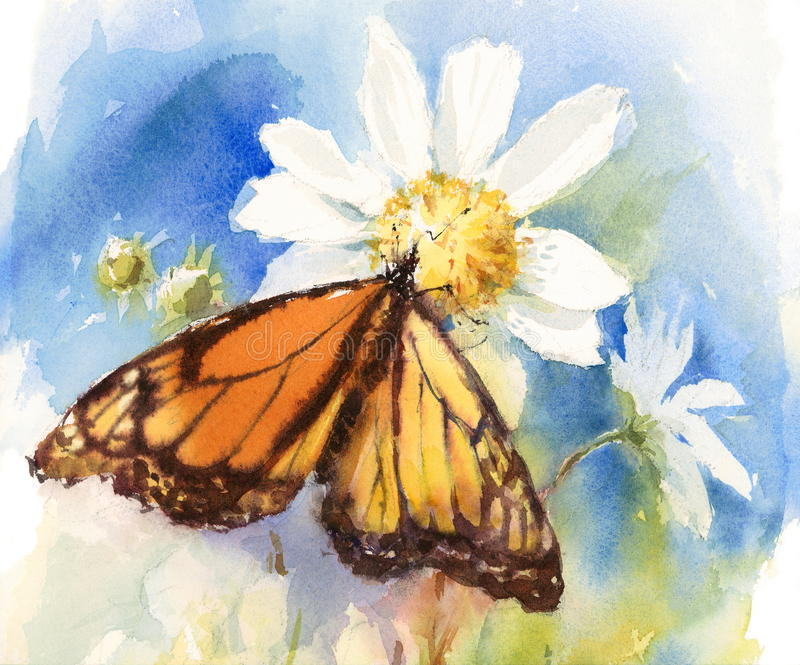 Getrokken de Hand van de de Waterverfillustratie van de monarchvlinder stock illustratie