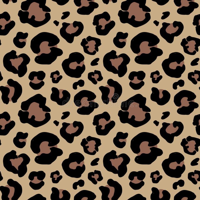 Getrokken de hand van de luipaardhuid dierlijke druktekening Naadloos patroon Vector illustratie royalty-vrije illustratie