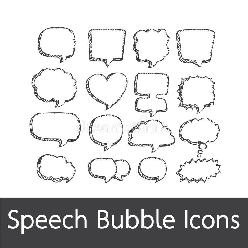 Getrokken de hand van de toespraakbel vector illustratie
