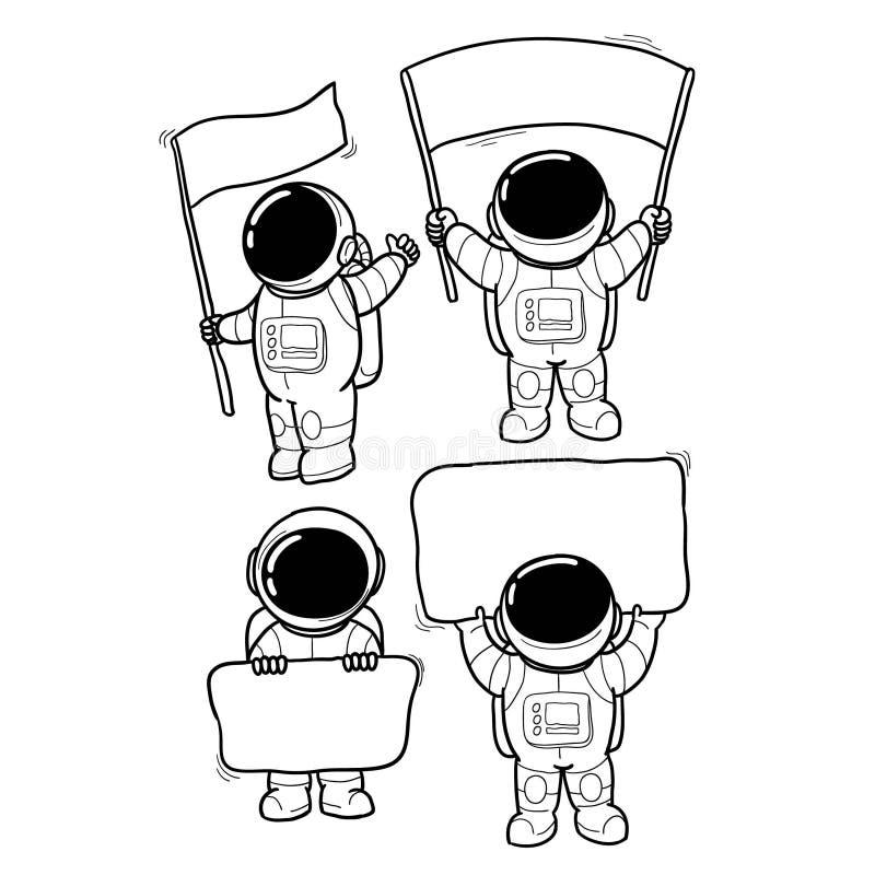 Getrokken de hand van het astronautenbericht vector illustratie
