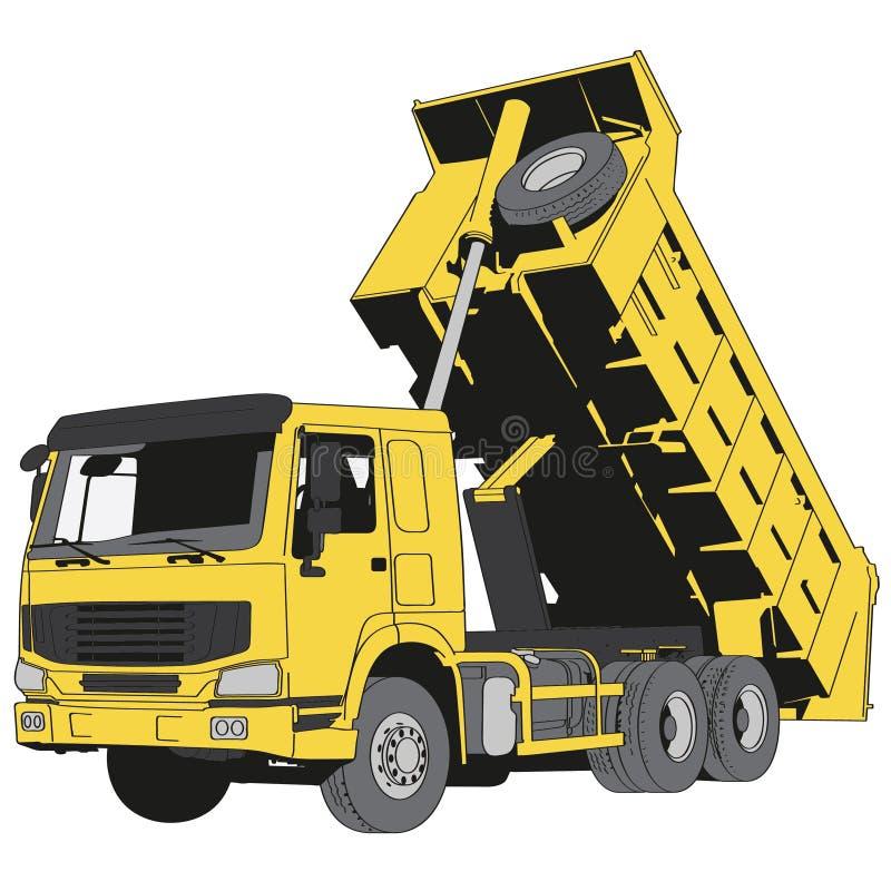 Getrokken de Hand van de stortplaatsvrachtwagen, Vector, Eps, Embleem, Pictogram, crafteroks, silhouetillustratie voor verschille vector illustratie