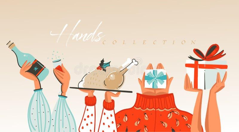 Getrokken de hand vector abstracte Vrolijke Kerstmis en de Gelukkige illustraties die van het Nieuwjaarbeeldverhaal inzameling be royalty-vrije illustratie