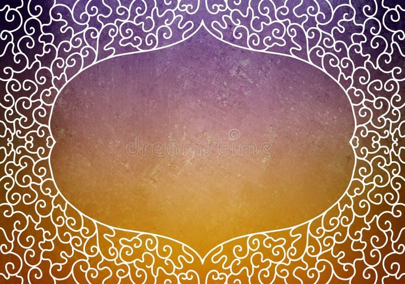 Getrokken de hand verfraaide de grens van het het kaderontwerp van de kantkrul op purpere en oranje achtergrond, het leeg etiket  vector illustratie