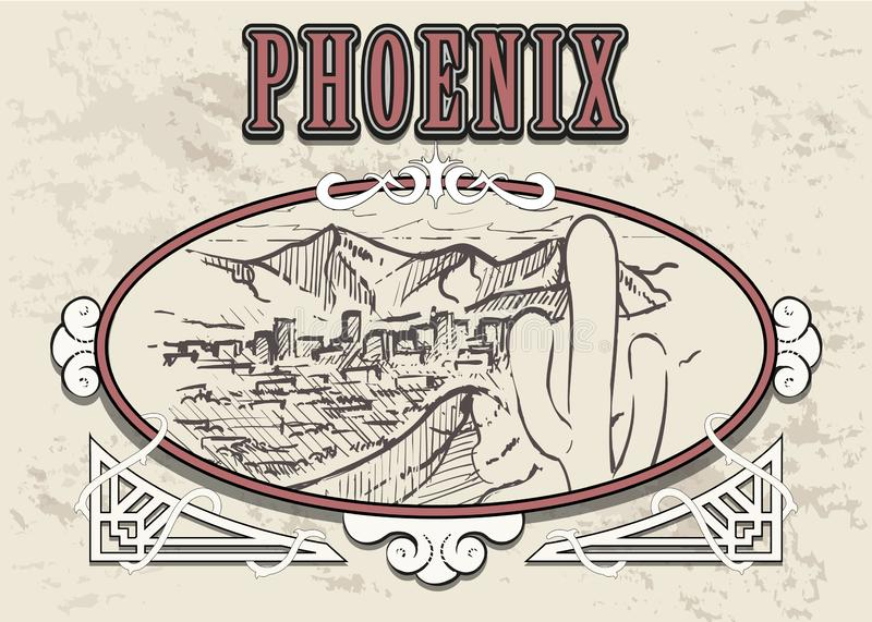 Getrokken de horizonhand van Phoenix Van de de schetsstijl van Phoenix de vectorillustratie royalty-vrije illustratie