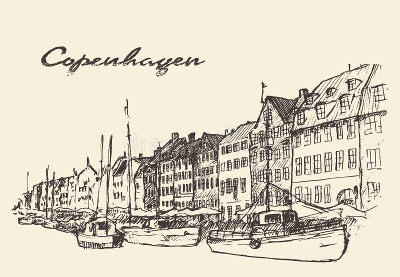 Getrokken de illustratiehand van Kopenhagen Denemarken royalty-vrije illustratie