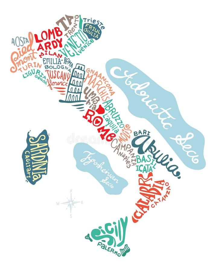 Getrokken de kaartillustratie van Italië hand royalty-vrije illustratie