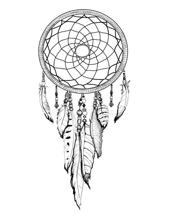 Getrokken de schetsillustratie van de droomvanger hand royalty-vrije illustratie