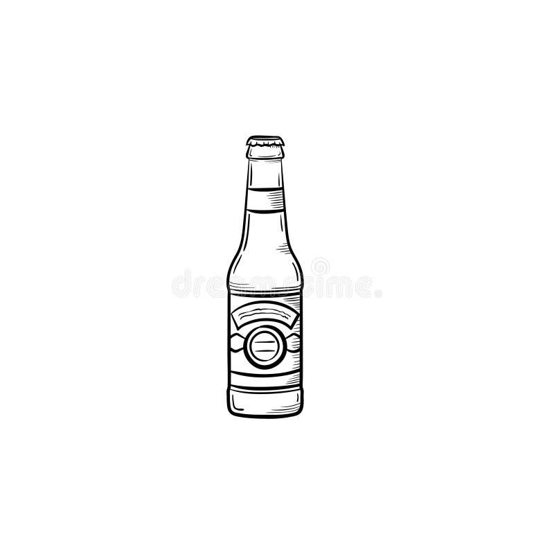 Getrokken de schetspictogram van de bierfles hand royalty-vrije illustratie