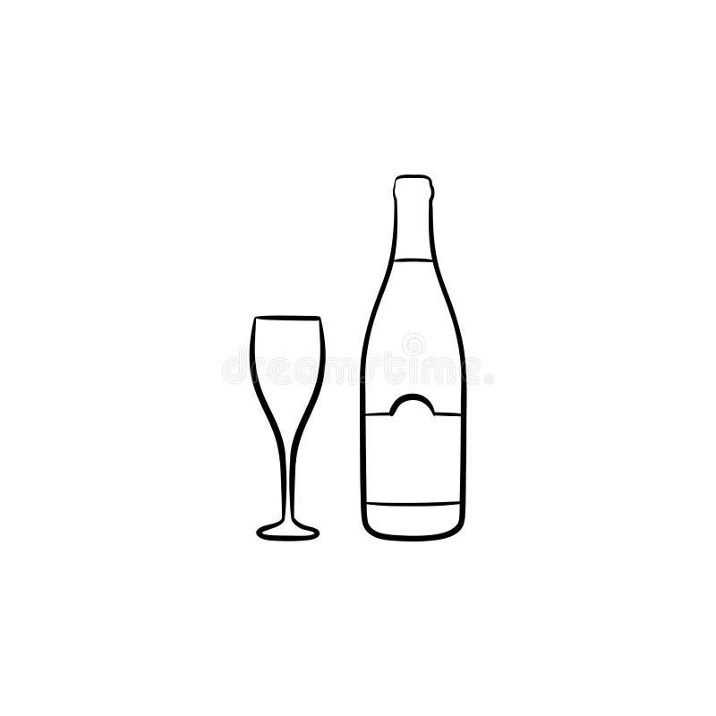 Getrokken de schetspictogram van de wijnfles hand stock illustratie