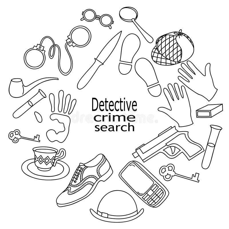Getrokken Detective van beeldverhaal de leuke krabbels hand en misdadige illustratie stock illustratie