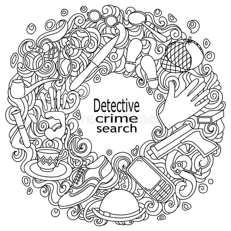 Getrokken Detective van beeldverhaal de leuke krabbels hand en misdadige vectorillustratie stock illustratie