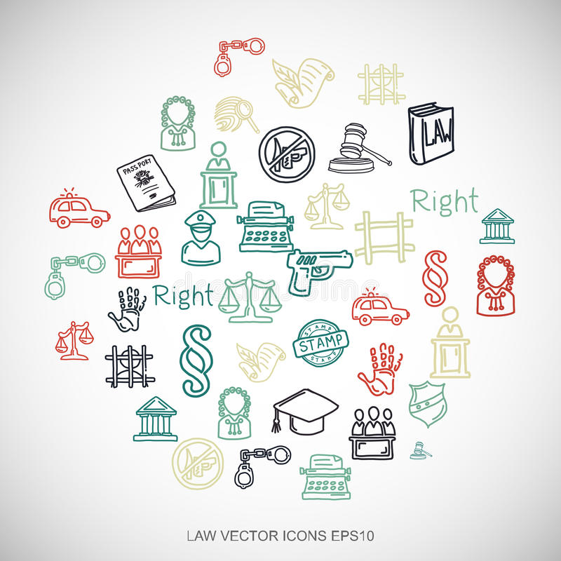 Getrokken die de Wetspictogrammen van wets Veelkleurige krabbels Hand op Wit worden geplaatst EPS10 vectorillustratie vector illustratie