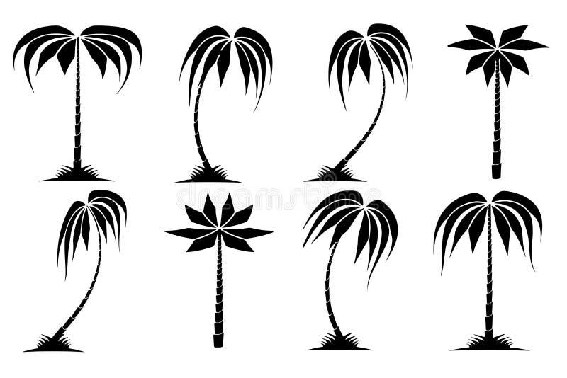 Getrokken eenzame palmenboom op het strand vector illustratie
