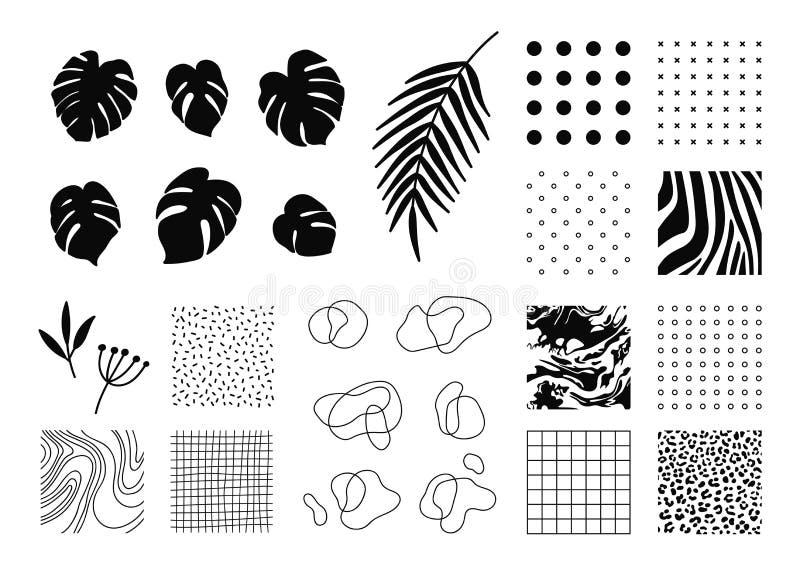 Getrokken elementen voor uw ontwerpen royalty-vrije illustratie