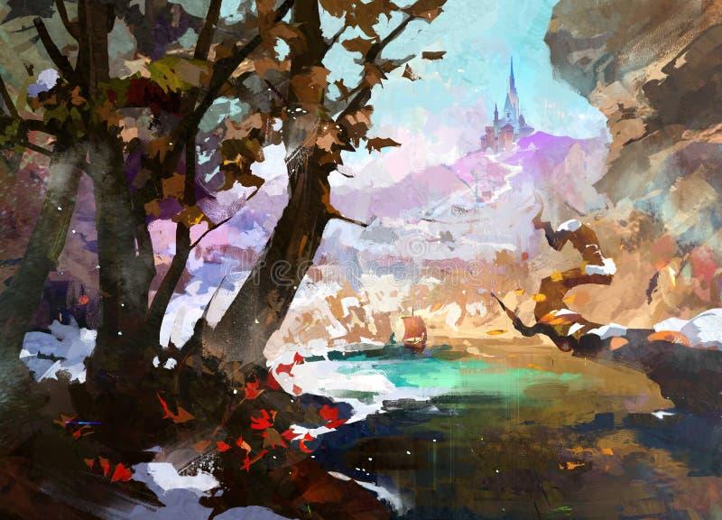 Getrokken fantasielandschap met kasteel en bomen vector illustratie