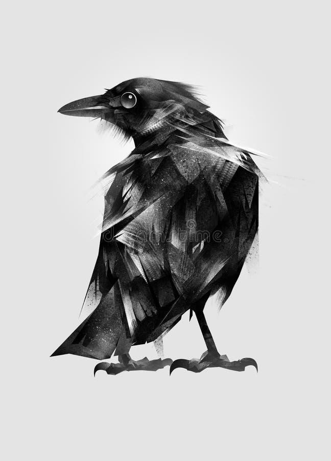 Getrokken geïsoleerde het plaatsen vogelmerel vector illustratie