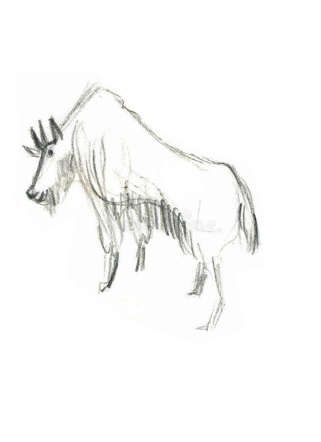 Getrokken geit zwart-witte hand stock illustratie