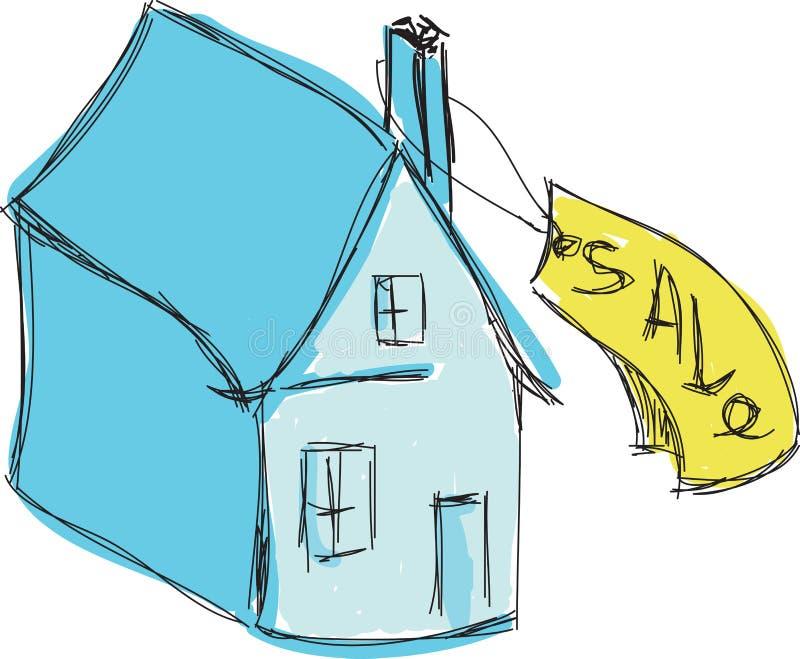 Getrokken gekleurd blauw huis voor verkoop vector illustratie