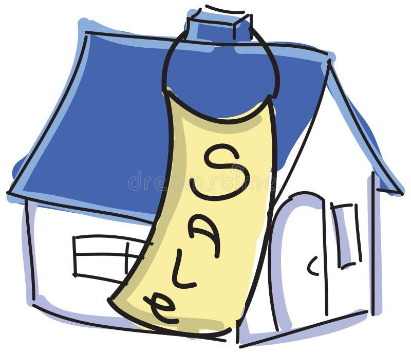Getrokken gekleurd huis met blauw dak voor verkoop stock illustratie