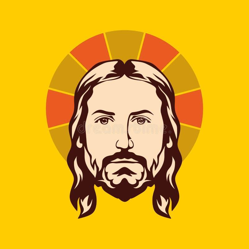 Getrokken gezicht van Jesus Christ-hand vector illustratie