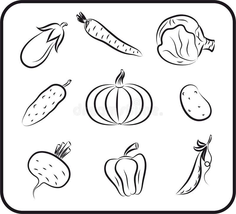 Getrokken groenten vectorhand vector illustratie