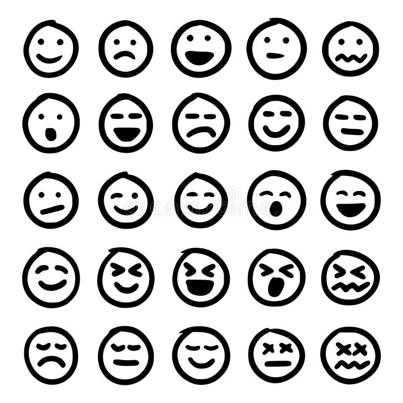 Getrokken hand emoticons vector illustratie