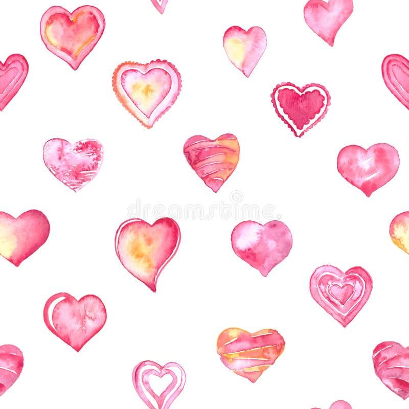 Getrokken hand en geschilderde die waterverfharten voor de dagkaart van Valentine of romantische prentbriefkaaren worden geplaats royalty-vrije illustratie
