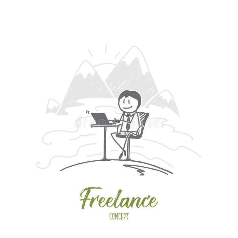 Getrokken hand freelancer het werken met laptop vector illustratie