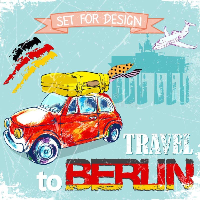 Getrokken hand, kleurenpenñ  IL grappige rode auto, reis aan Berlijn Vector illustratie stock illustratie