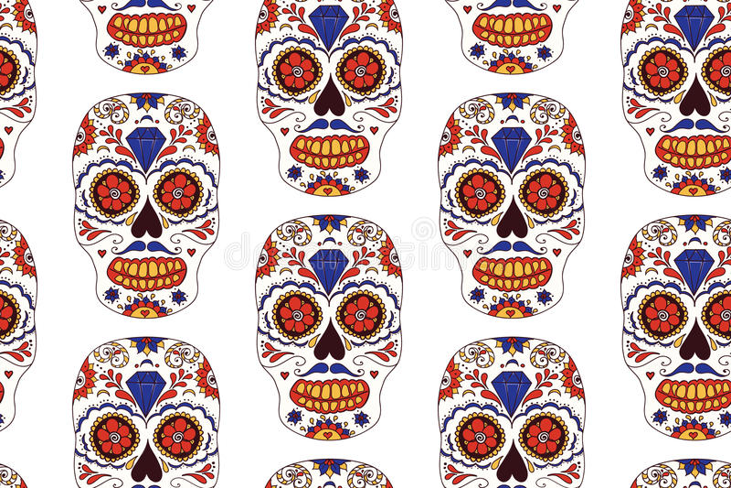 Getrokken hand Mexicaanse Dag van het Dode naadloze patroon Vector kleurrijke suikerschedel royalty-vrije illustratie
