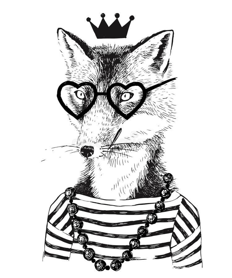 Getrokken hand omhoog gekleed fennec in hipsterstijl vector illustratie
