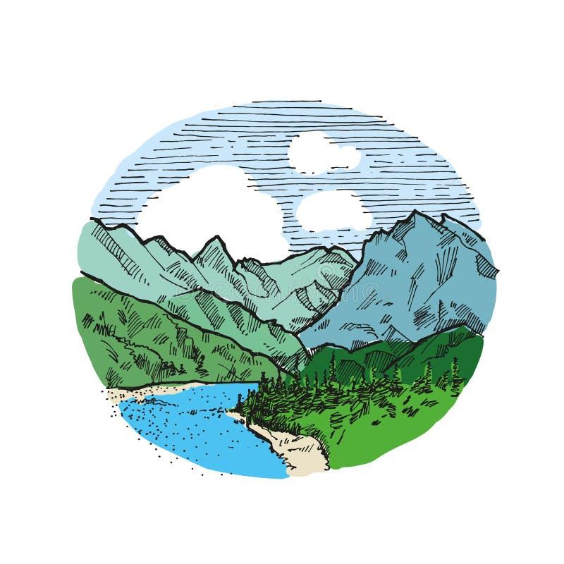 Getrokken hand van de bergen de uitstekende illustratie stock illustratie