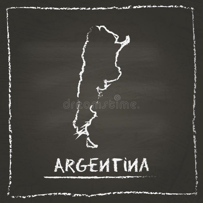 Getrokken hand van de het overzichts de vectorkaart van Argentinië royalty-vrije illustratie
