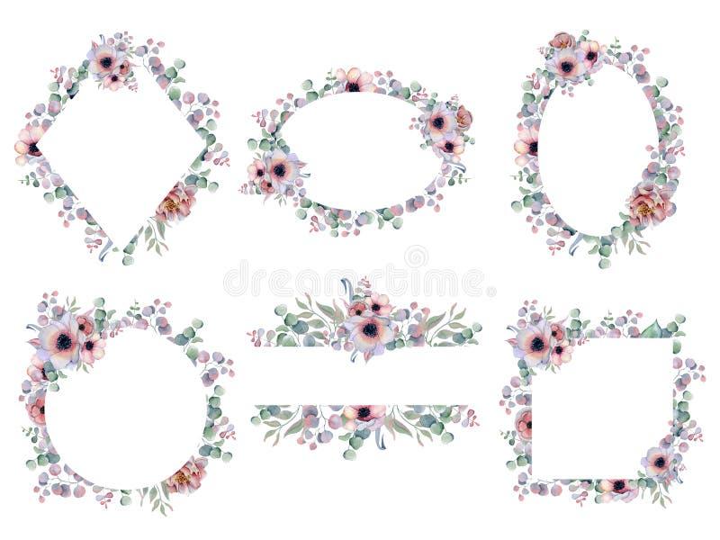 Getrokken Hand van het waterverf arrangemen de bloemenkader met pioenen en anemoonbloemen stock illustratie