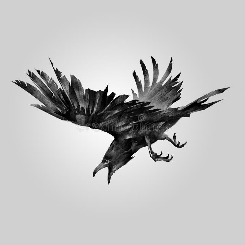 Getrokken het aanvallen vogelraaf royalty-vrije illustratie