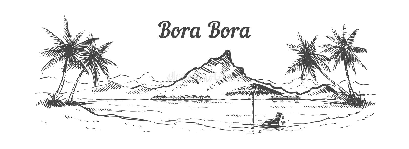 Getrokken het eiland de hand van Palm Beachbora bora, schetst vectorillustratie stock illustratie